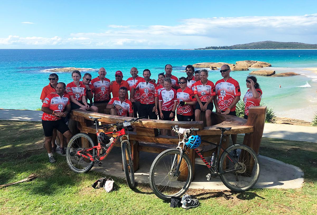Tour De Rocks team by the beach