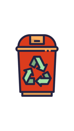 Red Recycle Bin UNE