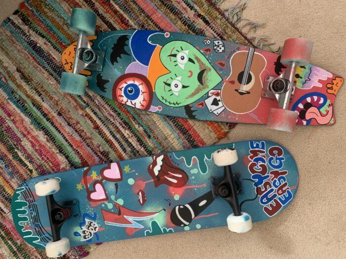 Custom Skateboard, abstract artwork by Kate Bailey, Creative New England Blog