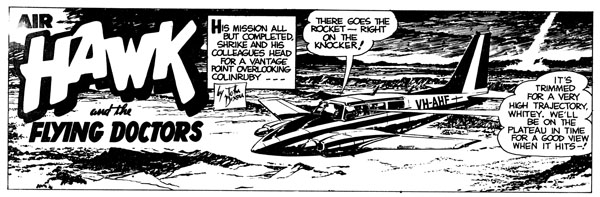 """John Dixon, the creator, writer, and illustrator of the """"Air Hawk and The Flying Doctors"""" comic strip"""