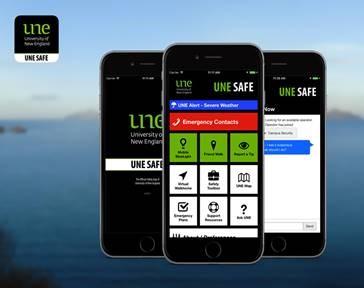 UNE Safe Hub phone mock up