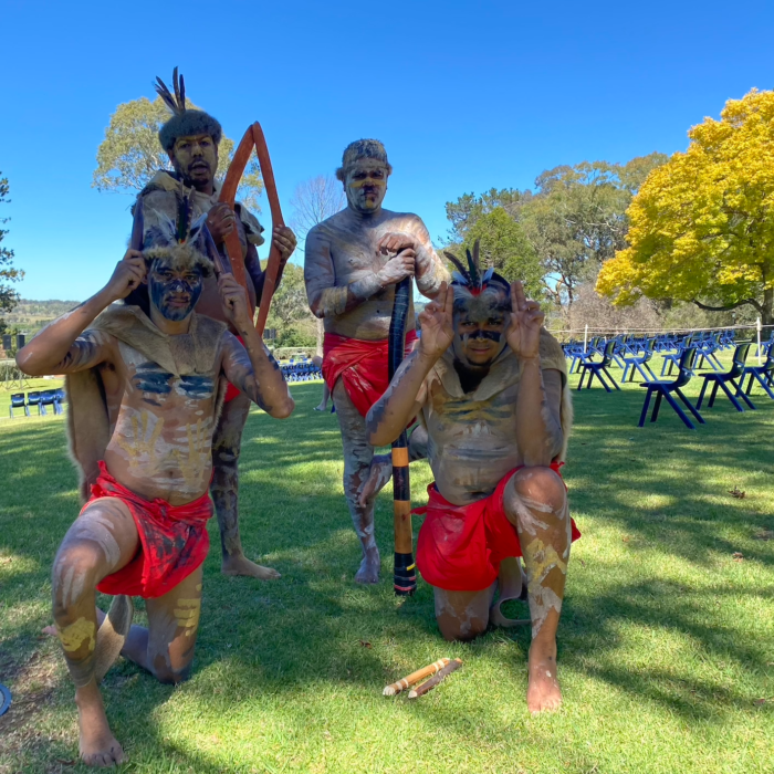 Dancers at the Traditional Smoking Ceremony at Booloominbah Welcome Ceremony 2021