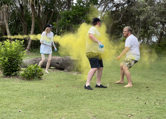 UNE Life Clubs camp, people having a colour run war