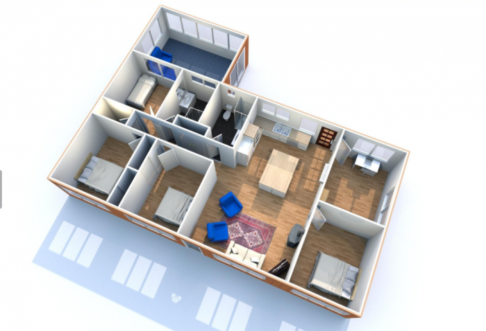 Floorplan of Glass St Share House, 4 bedrooms a study large living and kitchen area and 2 bathrooms.