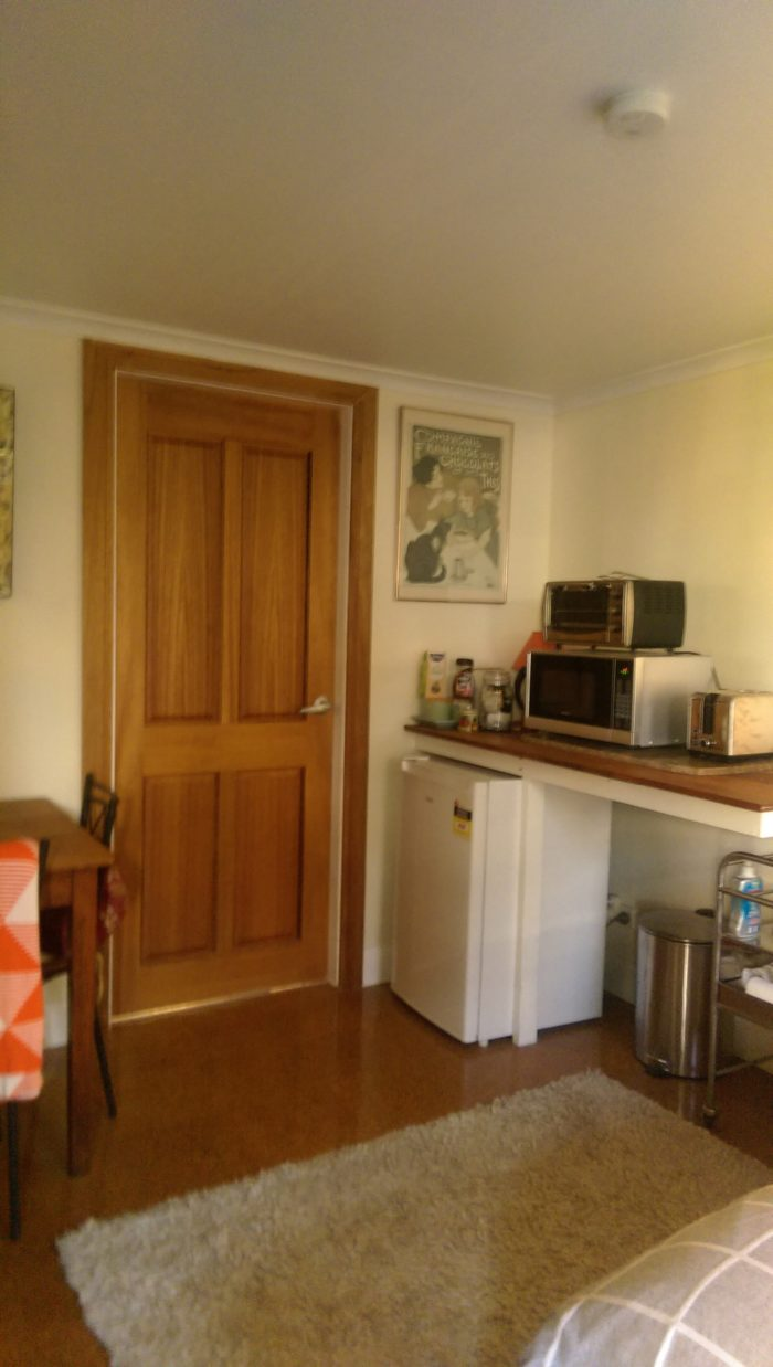 kitchenette in garden guest room