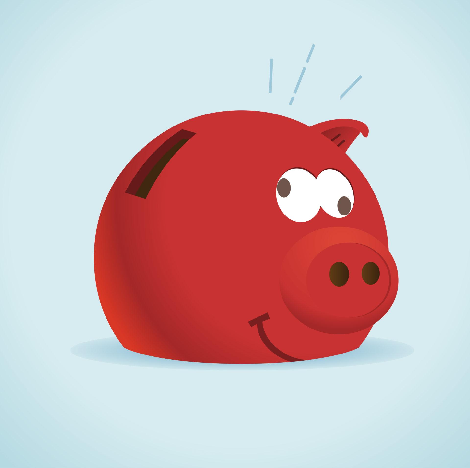 Red Piggy Bank. Vector illustration