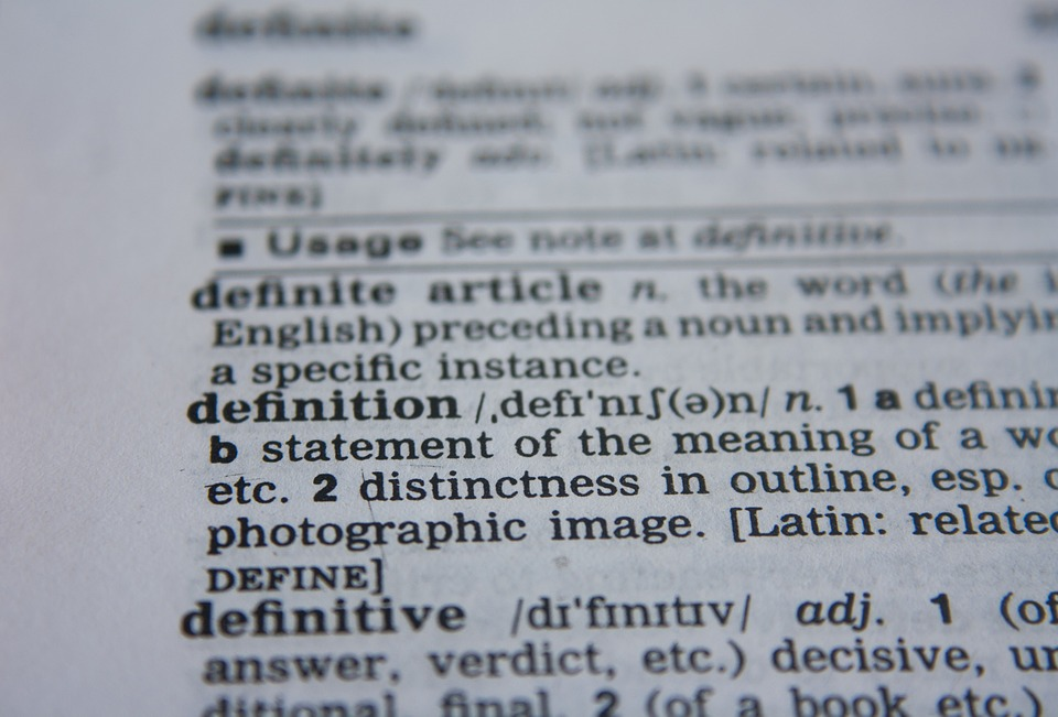 The word 'definition' in a dictionary