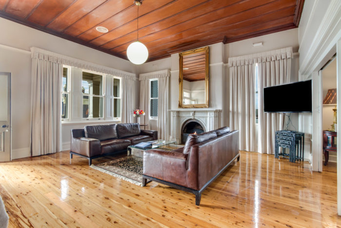 Living area, with wooden floors