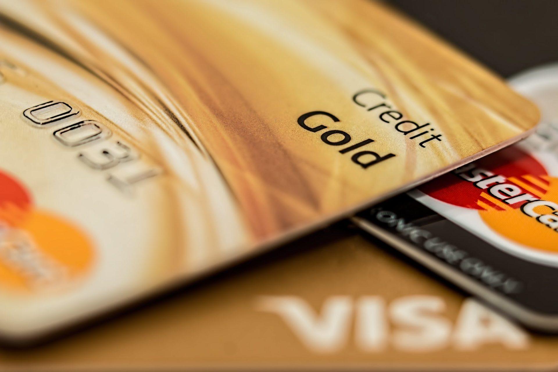 Close view of Visa and Mastercard credit cards