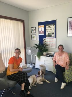 Two UNE CAPS psychologists sitting on chairs, with the Therapy Dog laying on the ground in between them