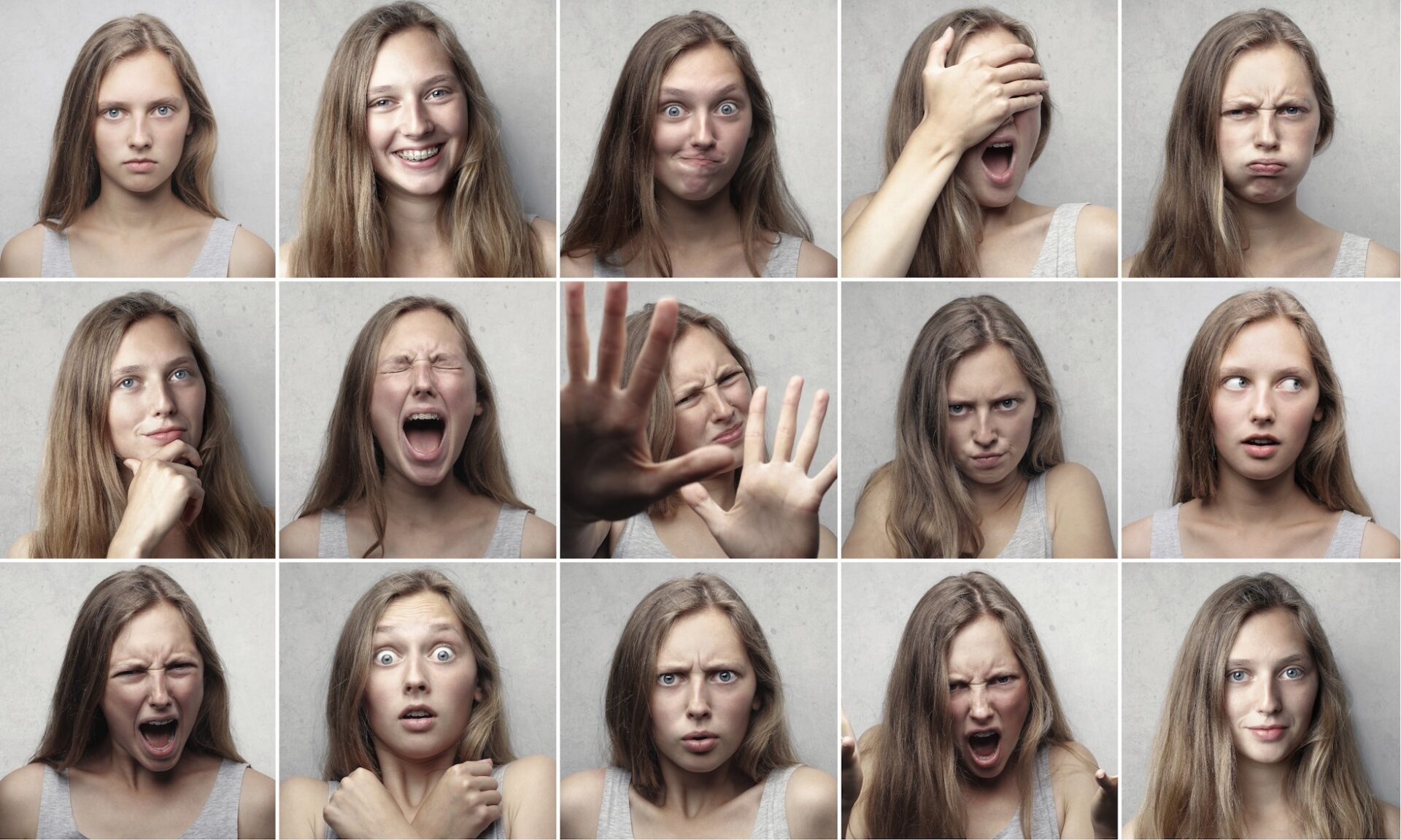 girl in series of small photos expressing different emotions